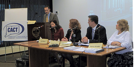 Panelists: Lisa Rivers, Keleigh Arian, Jim Travers, Nancy Krodel at the Mobility Choices in Connecticut event